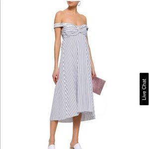 A.L.C. Arsenio striped off shoulder cotton dress